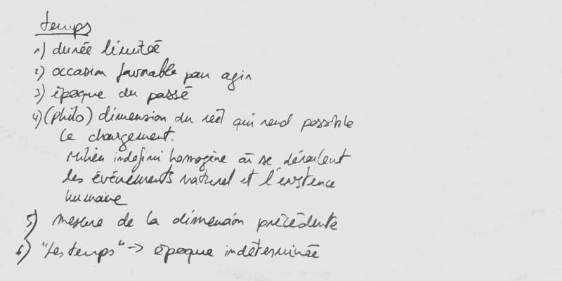 """définition de """"temps"""" écrite à la main sur du papier"""
