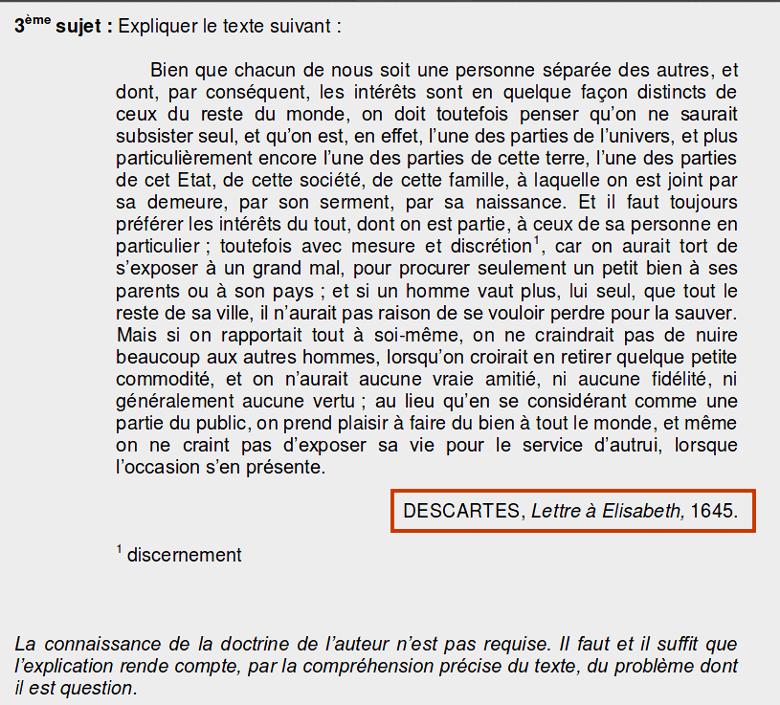 Image : Texte d'un sujet du Bac 2013 série L : explication de texte de Descartes (Lettre à Elisabeth, 1645).